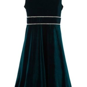 Rare Editions Girls Velvet Emerald Green Dress